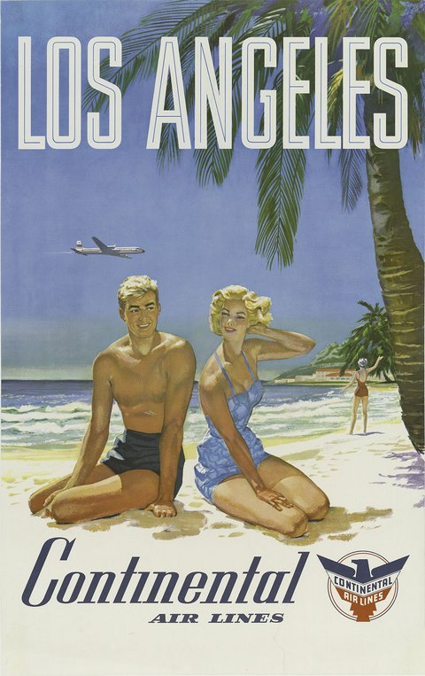 classic posters, free download, graphic design, retro prints, skiing, sports, travel, travel posters, vintage, vintage posters, Los Angeles, Continental Air Lines - Vintage Travel Poster