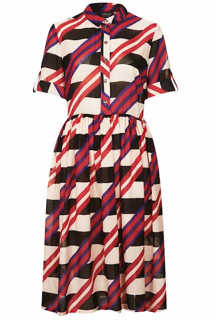 Topshop diagonal stripe shirt dress