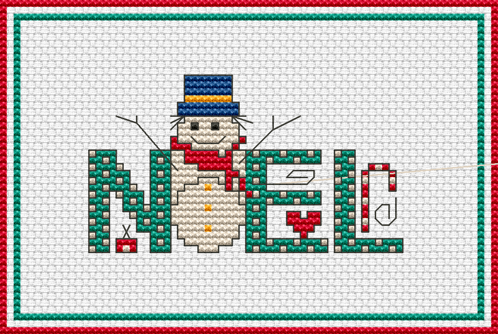 Free cross stitch patterns noel and snowman free cross for Cross stitch patterns free printable