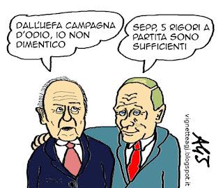 blatter, FIFA Uefa, Putin, sport, vignetta, satira