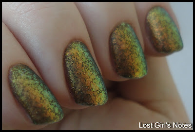 butter london wallis with relouis flakies, rusty manicure