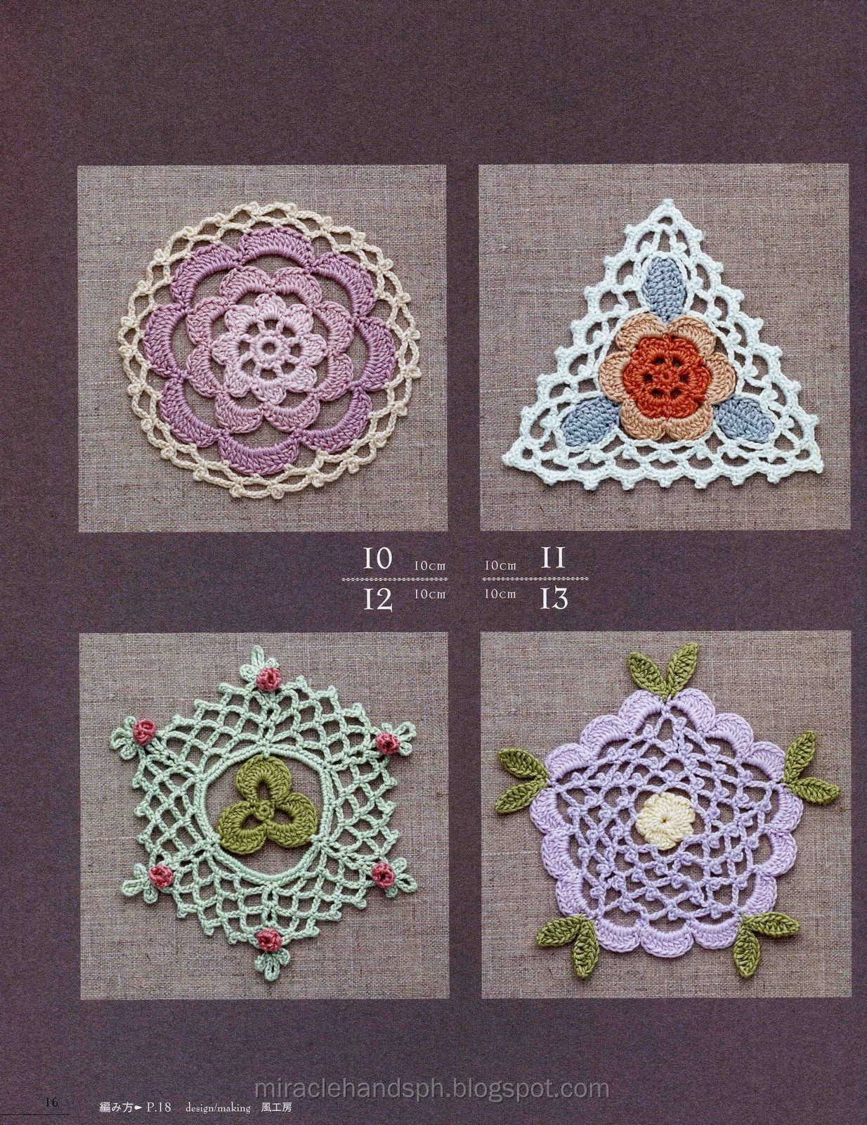 Crochet Pattern Books : Free japanese craft book: Crochet Rose Pattern 100 ~ Miracle hands