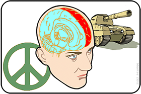HUMAN BRAIN HARD WIRED FOR PEACE OR WAR, WHICH WINS?