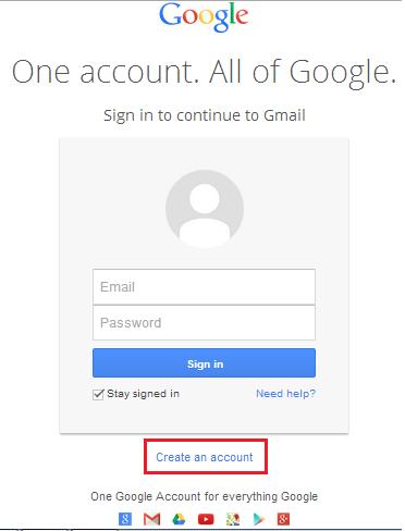Halaman awal sebelum mendaftar email gmail