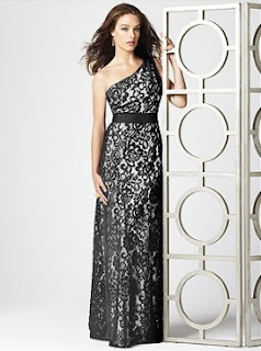 White Satin Black Lace Full Length One Shoulder Bridesmaid Dress