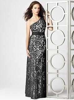 White Satin Black Lace Full Length One Shoulder Bridesmaid Dress