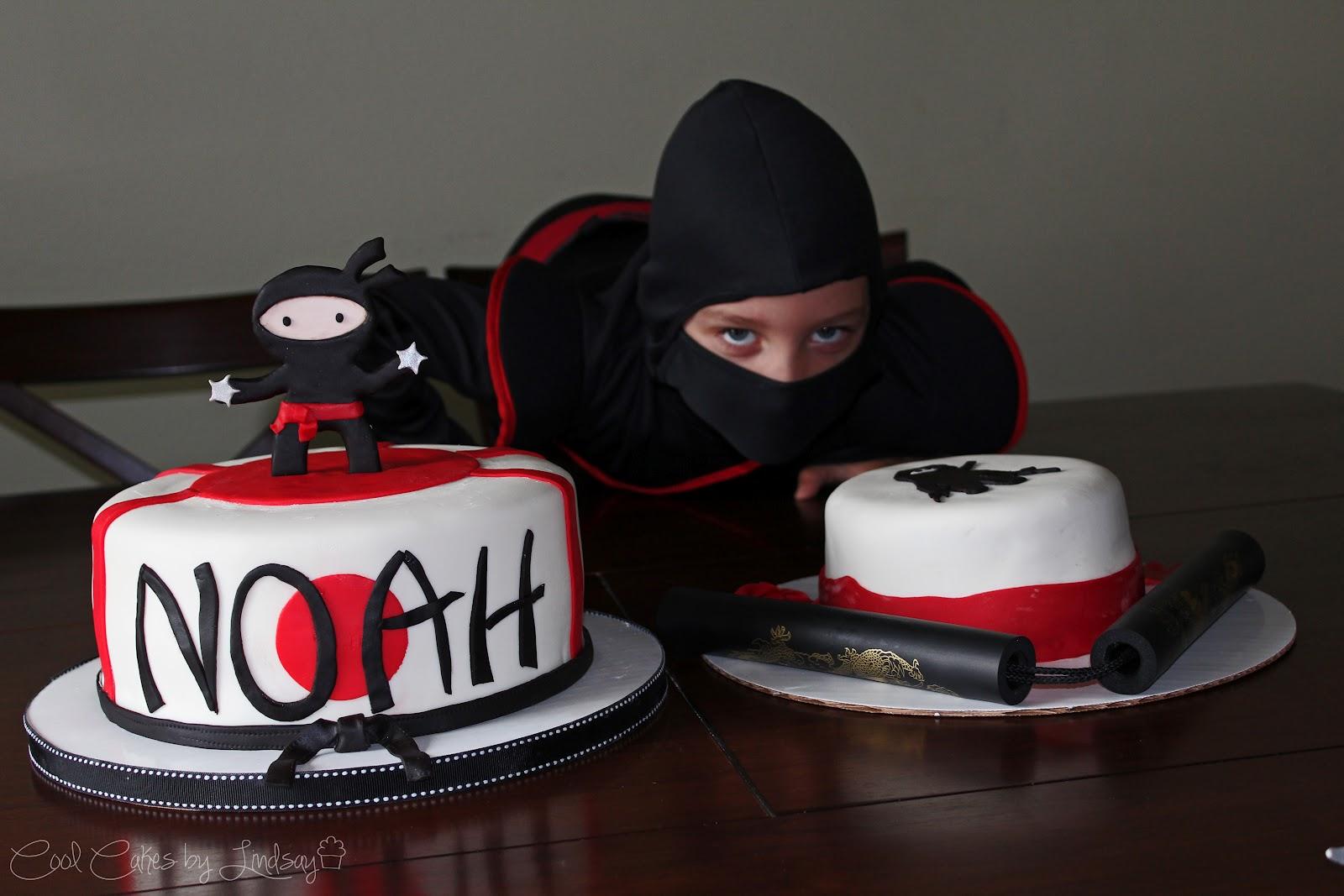 Ninja cake with vanilla cake and vanilla buttercream covered in