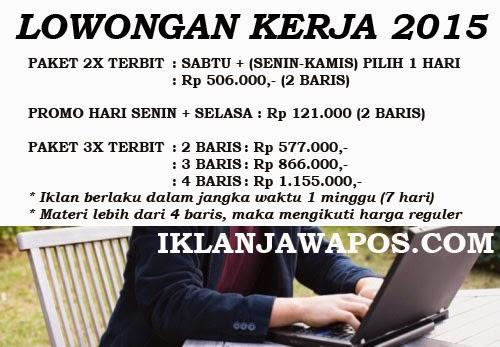 Iklan Baris Jawa Pos Murah 2015 Paket Lowongan Kerja