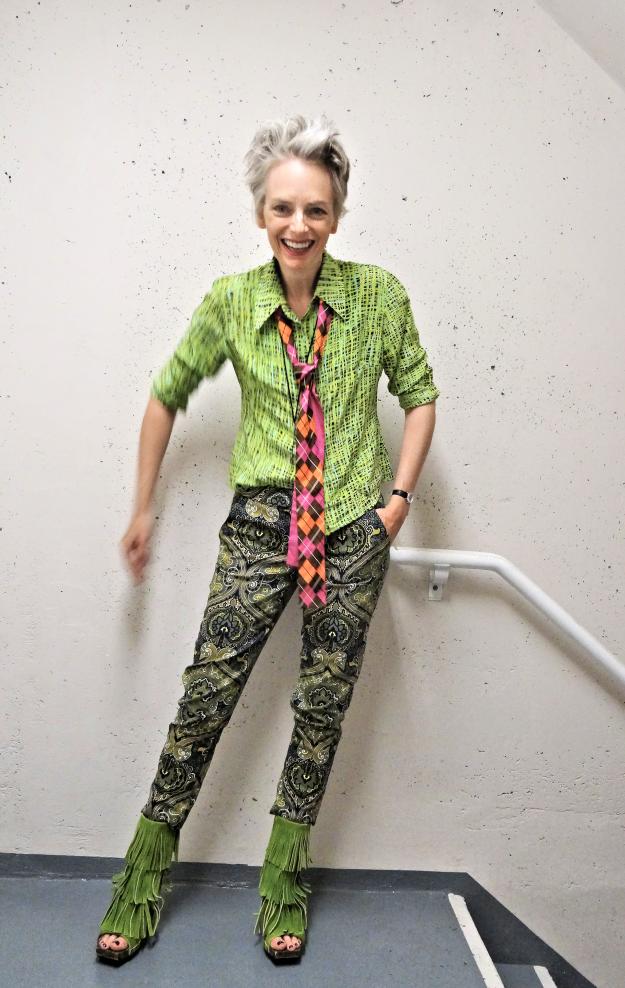 Melanie Kobayashi, Bag and a Beret, shaggarific green pattern mixing