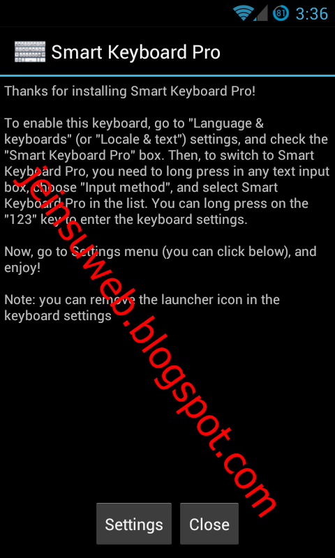 Pergi ke Smart Keyboard Pro setting