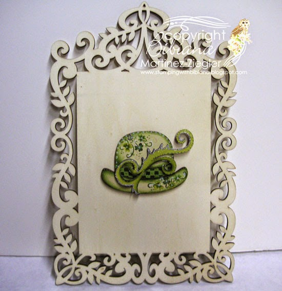 painted framed green hat lapel pin for St. Patrick's