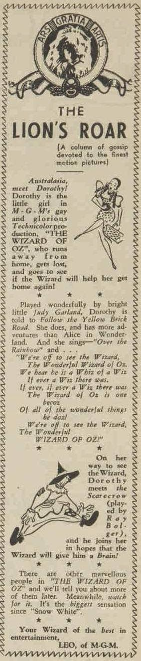 Original 1939 article about the Wizard of OZ