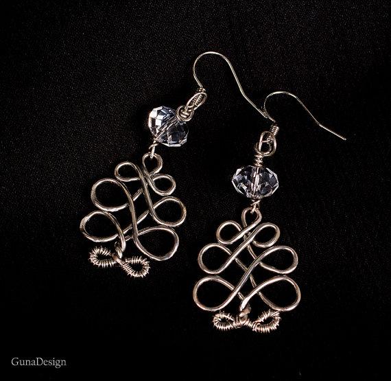 gunadesign guna andersone Celtic wire wrapped tree earrings