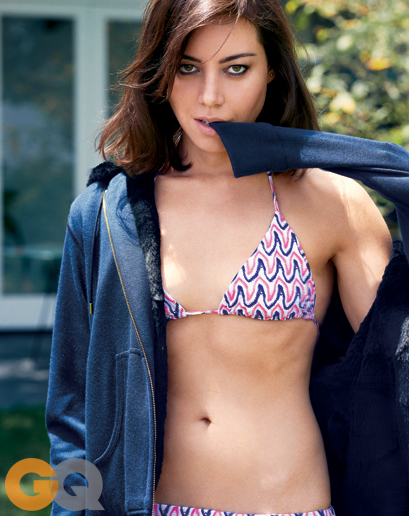 Aubrey Plaza in bikini for GQ