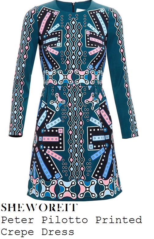 lucy-mecklenburgh-green-multi-geometric-print-long-sleeve-mini-dress