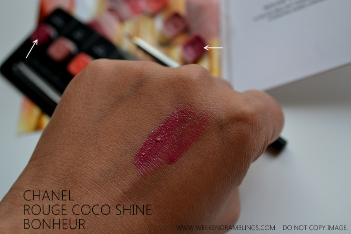 Chanel Makeup Rouge Coco Shine Lipstick Bonheur Sheer Pink Berry Lipstick Indian Beauty Blog Swatch FOTD Looks