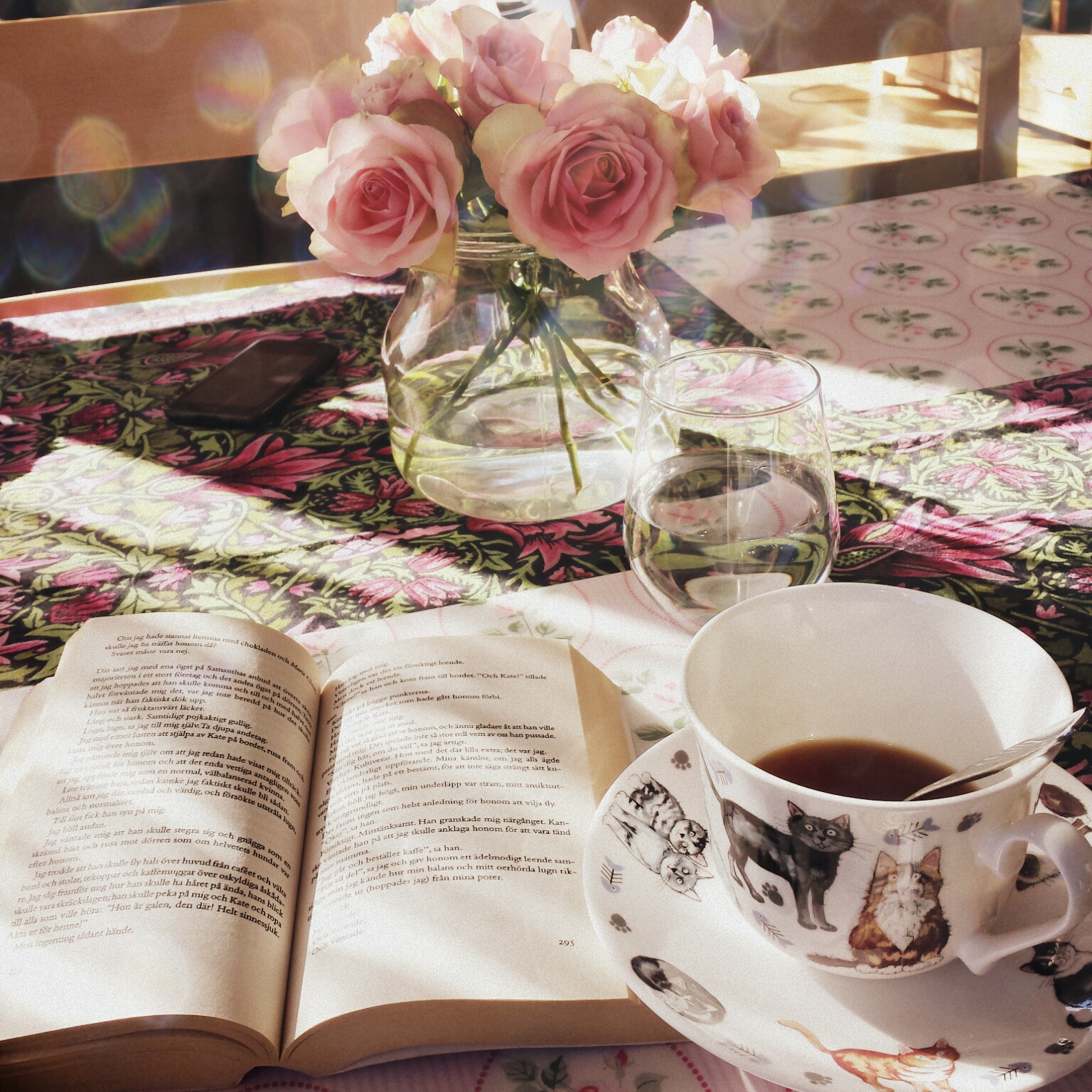 tea, book, bliss, roses, sunlight