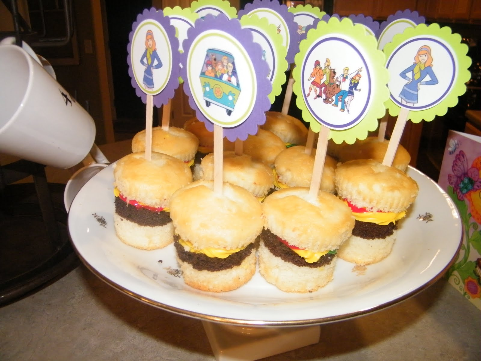 Cheeseburger Cupcakes With Scooby Toppers