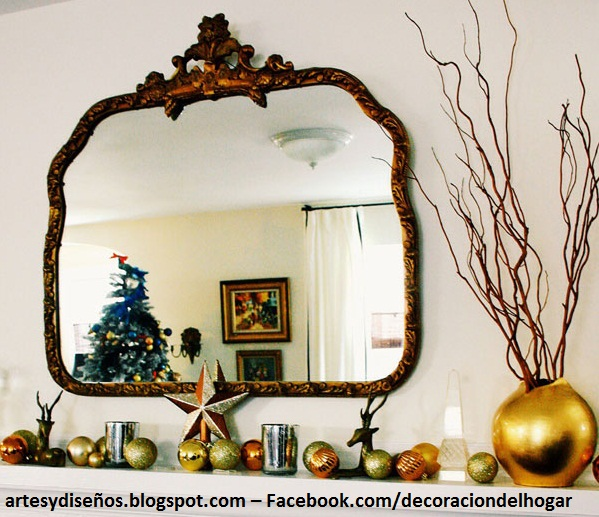Ideas para decorar espejos navide os for Espejos circulares para decorar
