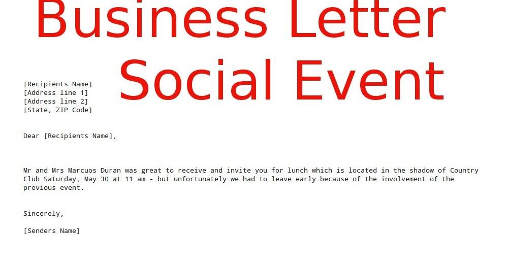 Business Letter Social Event Samples Business Letters