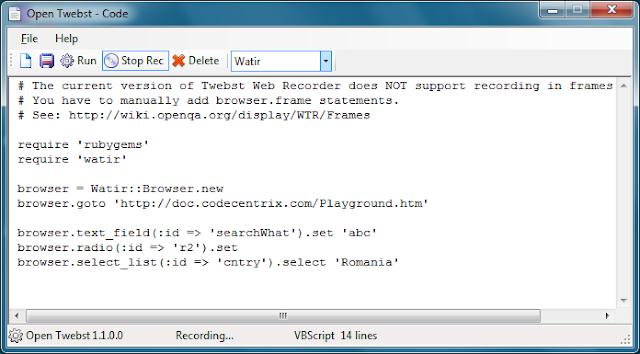 Watir Web Recorder - Open Source