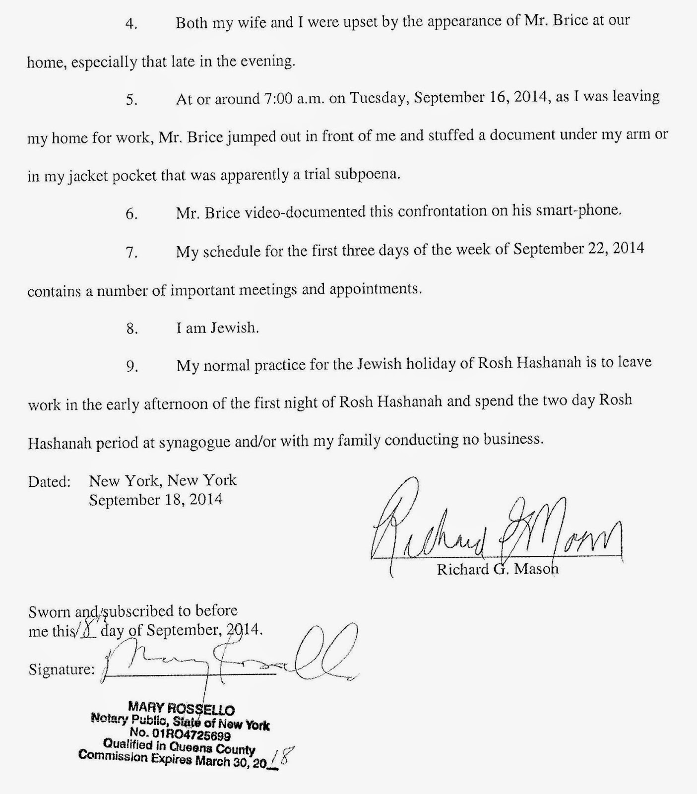 Page 2 Affidavit Of Richard Mason In Support Of His Motion On Short Notice  For An How To Become A Police Officer In New Jersey Notary Public  Index372439g