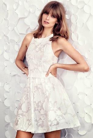 H&M celebración vestido corto blanco roto