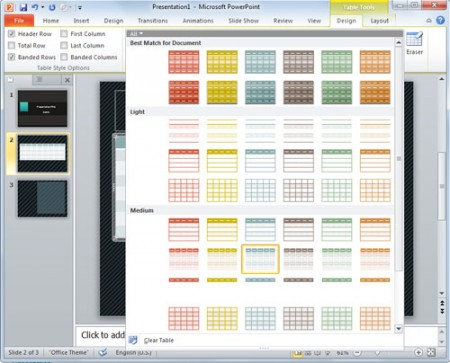 Pengenalan m pp example themes hive for Table design in powerpoint