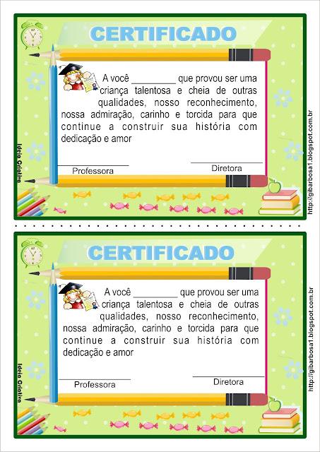 Diploma e certificado para educação infantil para meninos