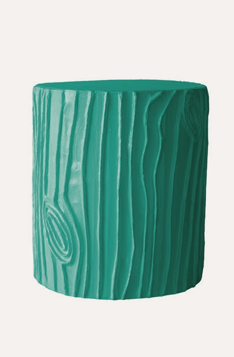 teal faux bois stool