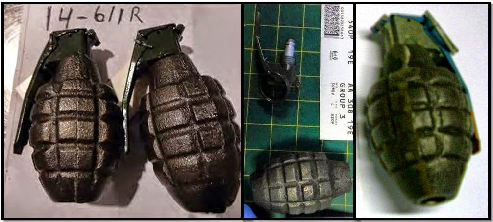Four inert hand grenades.