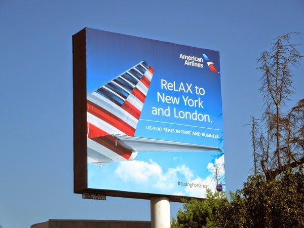 American Airlines ReLAX New York London billboard