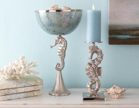 seahorse pillar candle holder