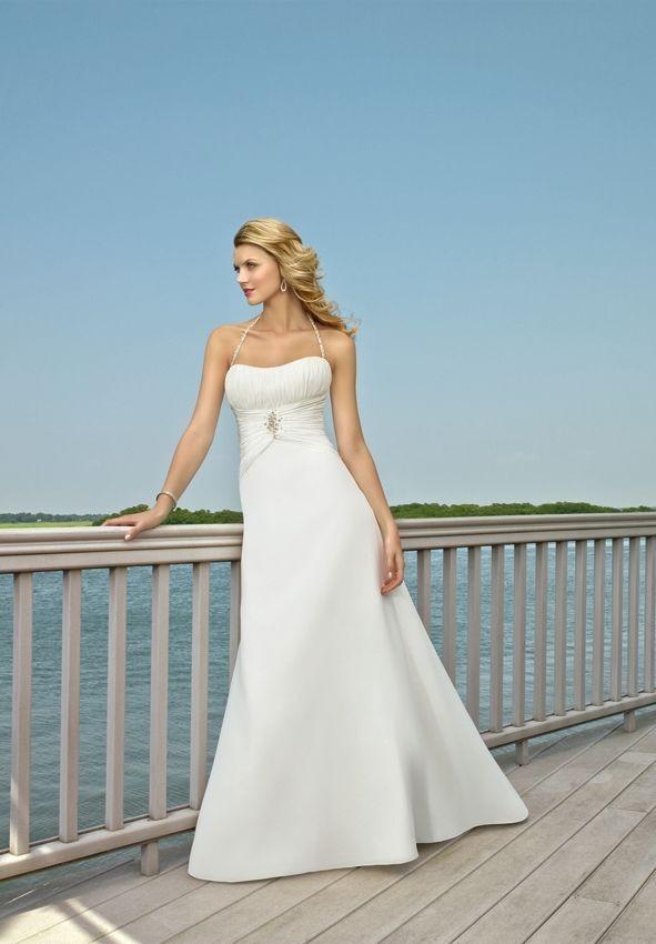Whiteazalea simple dresses march 2012 for Halter wedding dresses beach