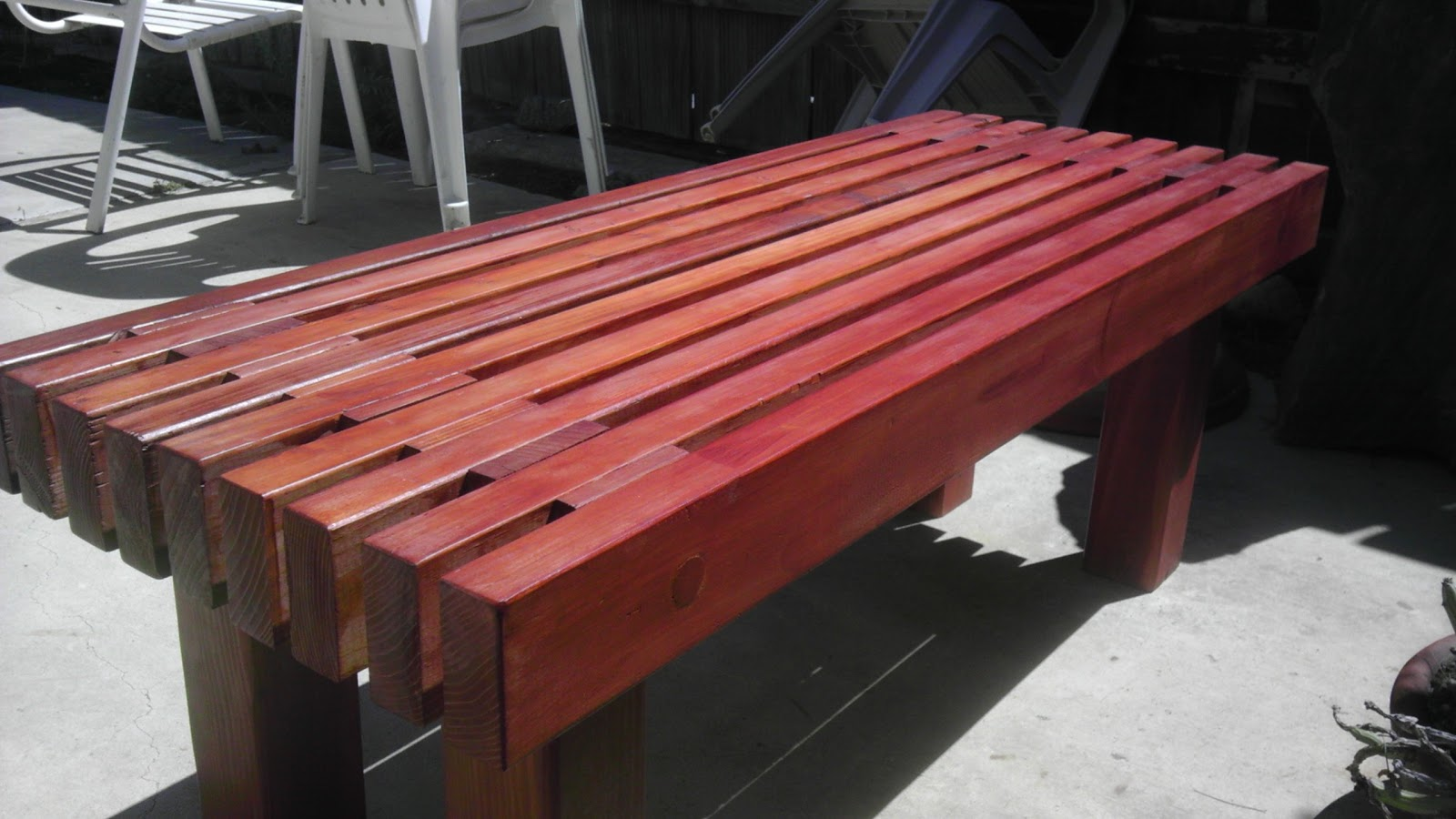 Christina and ted buy a house diy redwood garden bench Yard bench