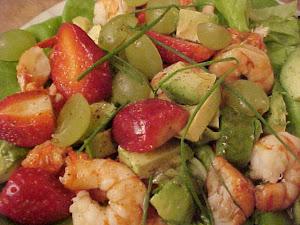 Salade de homard et de crevettes Viviane, vinaigrette au sirop d'érable et au vinaigre balsamique