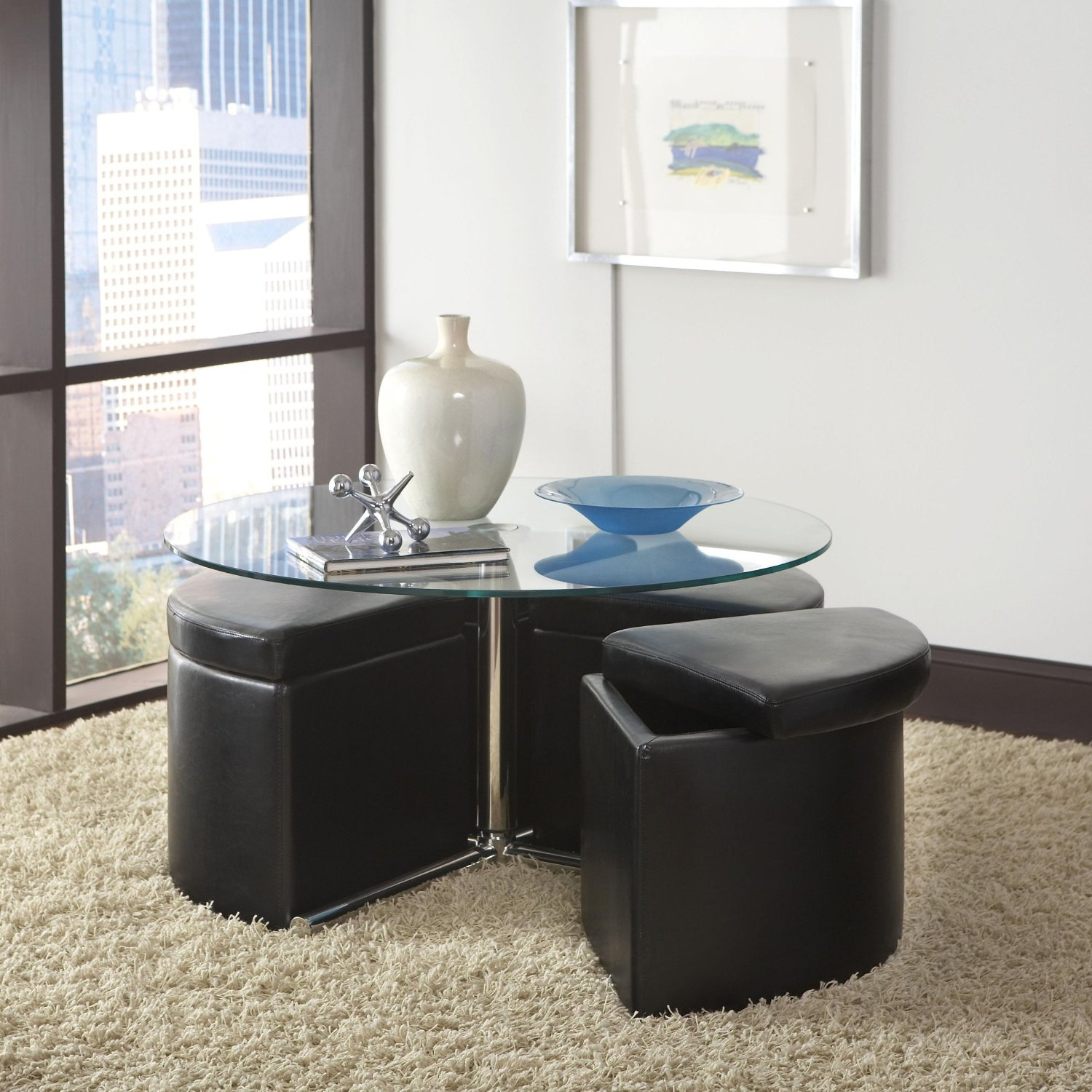 Round Glass Top Coffee Table With Storage Ottoman Seating Underneath