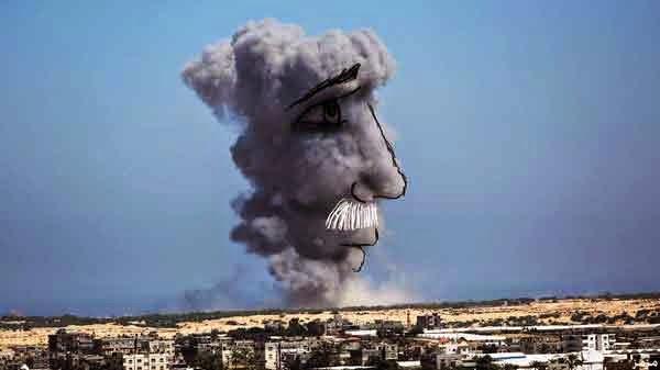 فلسطينيون يحولون دخان الغارات للوحات فنية 2