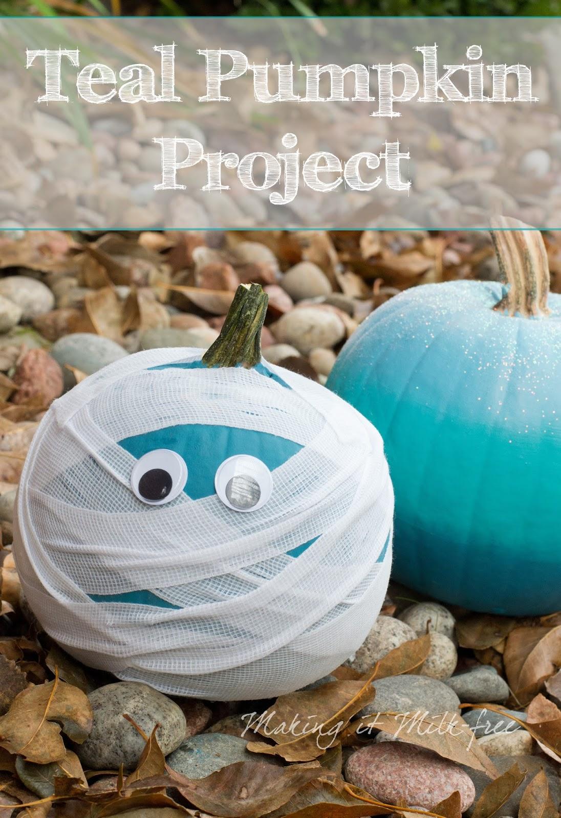 Teal Ombre Pumpkin with Glitter & Teal Mummy Pumpkin by Making it Milk-free | Teal Pumpkin Project | makingitmilkfree.com