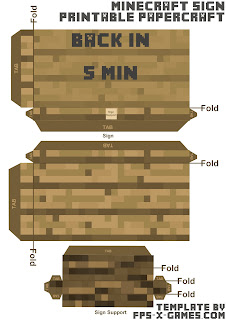 Minecraft papercraft back in five 5 min sign template cut out
