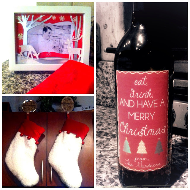 Christmas decorations - picture frame, stockings, wine bottle label