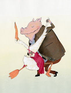 illustration of a duck and a pig dancing the tango by Robert Wagt