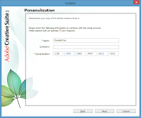 Windows 8. Adobe CS2 installation - Personalization. Enter your name and serial number provided