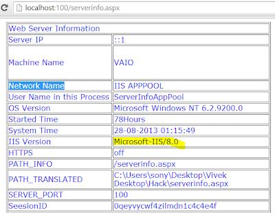 server ip address, os version, iis version, machine name, current user, domain name, current executing file path, port no demo