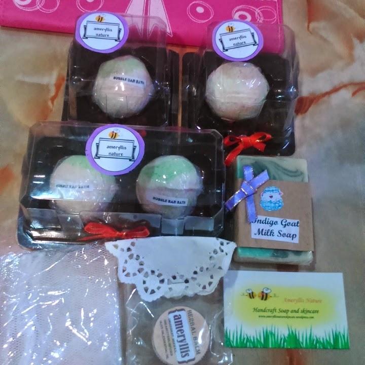 sold out bubble Bath bomb 2 set goatmilk indigosoap herbal balm ameryllis