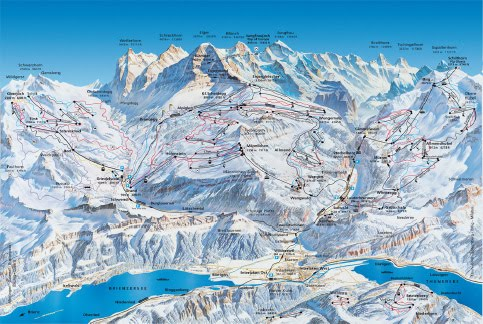 Panoramic Map of The Jungfrau Region - Wengen sits on a high plateau at 4,000 ft