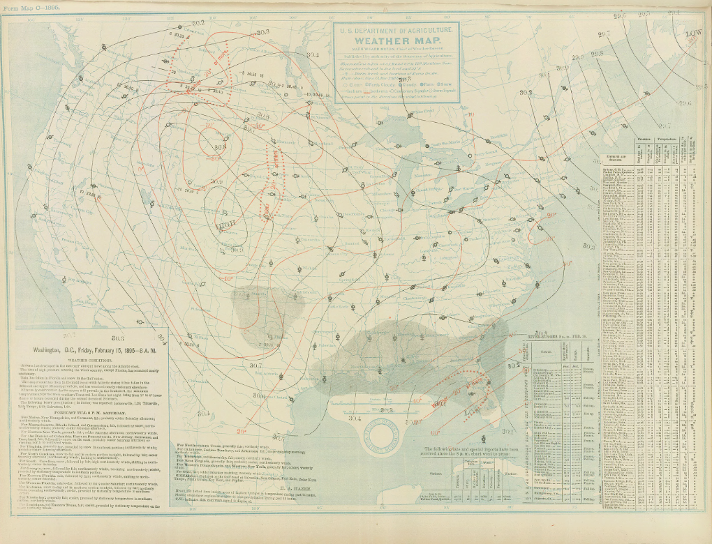 daily weather map from the u s weather bureau for feb 15 1895