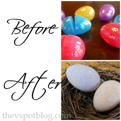 Take plastic eggs and make faux robins eggs