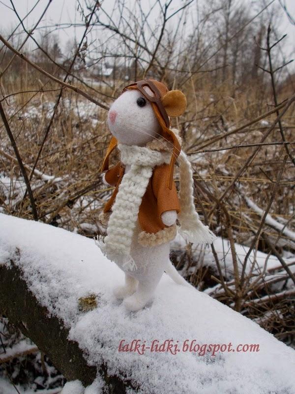 myszka z filcu, felted mouse