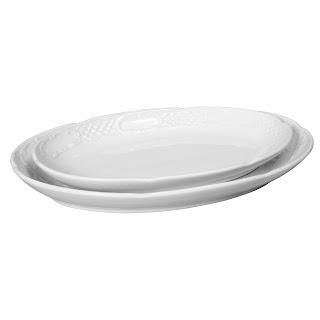 Farfurie ovala 'Flora', din portelan alb, potrivita pentru catering, se foloseste la masina de spalat vase si cuptorul cu microunde in conditii de siguranta